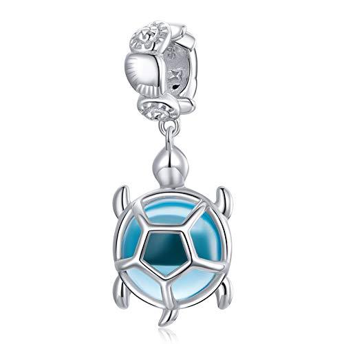 JQAM Los amuletos de Cuentas de Plata de Ley S925 de la Mujer, Tortuga Azul DIY Cristal Cristal Cristal Colgante para Pandora TROLT CAMILIA CHAMILIA Pulsera DE Pulsera SCC1804