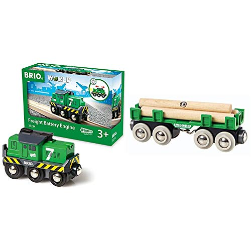 BRIO World 33214 - Freight Battery Engine - 1 Piece Wooden Toy Train Set for Kids Age 3 and Up & World - 33696 Lumber Loading Wagon   4 Piece Train Toy for Kids Ages 3 and Up