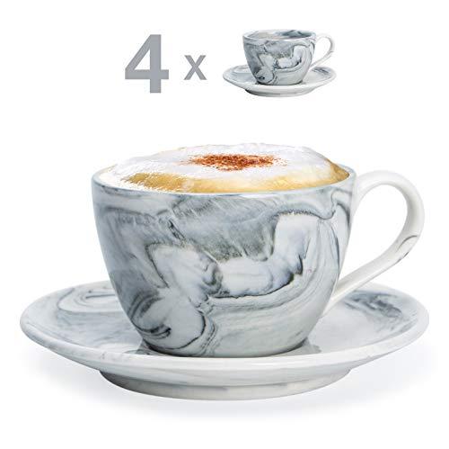 Hausmann & Söhne Cappuccino Tassen dickwandig   Set 8-TLG.   4er Set Schwarze Marmor Tassen mit Untertasse   Porzellan   Tasse 170 ml (210 ml randvoll)   Tassen mit Untersetzer   Geschenkidee