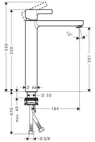 Hansgrohe – Einhebel-Waschtischmischer, ohne Ablaufgarnitur, ComfortZone 260, Chrom, Serie Metris S - 3