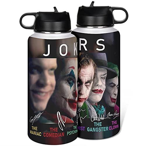 borraccia termica joker Cyliyuanye Joker Maniac Comedian Halloween Horror Film - Borraccia termica isolata con coperchio in paglia in acciaio inossidabile