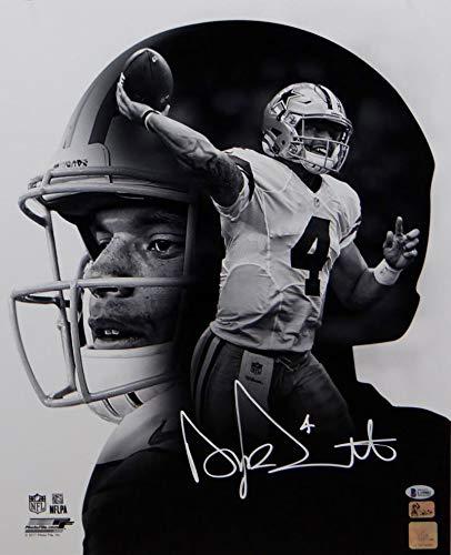 Dak Prescott Signed Dallas Cowboys 16x20 PF Photo Double Image- Beckett Auth White