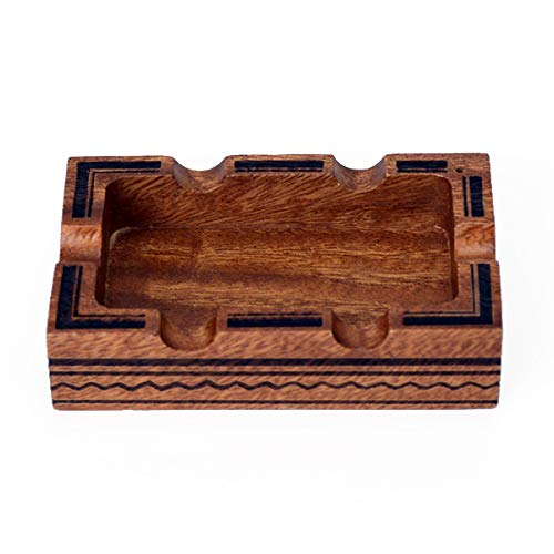 Lightly Toasted Walnut Wood Ash Tray - 2in1 Modern Wooden Ashtray for Weed and Incense Stick Holder Cool Stoner Ash Catcher (Large)