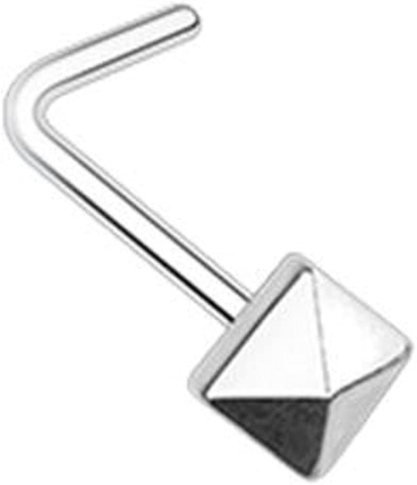Covet Jewelry Pyramid Nose L-Shape Nose Ring