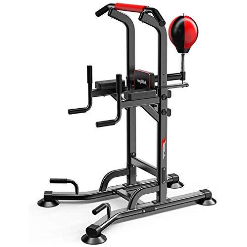 KirinSport L2341 - Barras de tracción multifunción ajustables para entrenamiento de fuerza, equipo de fitness para casa, con pelota de boxeo, silla romana