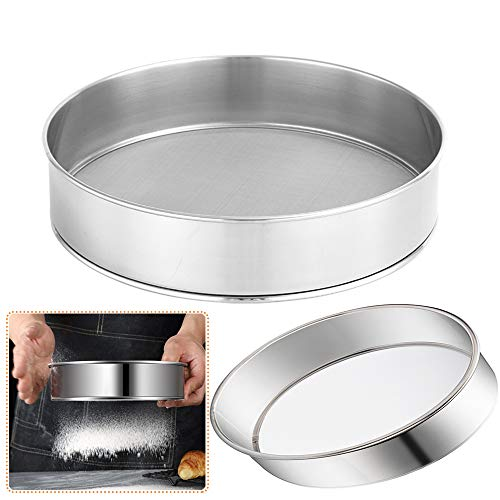 2 Pack Flour Sifter for Baking (8-Inch and 10-Inch) Stainless Steel Fine Mesh Strainers,60 Mesh Round Sifter Steel for Baking Cake Bread