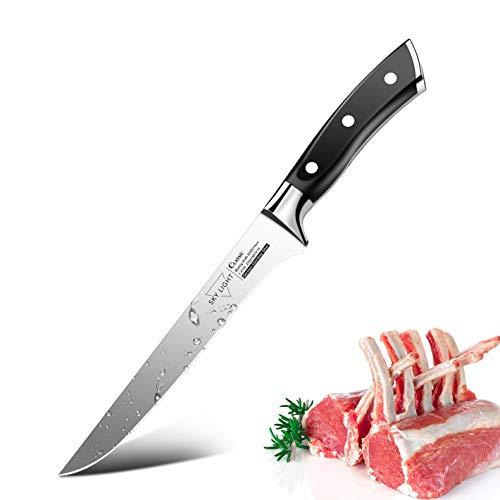 SKY LIGHT Boning knife, Super Sharp Fillet Knives 6 Inch Professional Flexible Bone Knife for De-boning Meat Fish Poultry Chicken Kitchen Chef's Cutlery