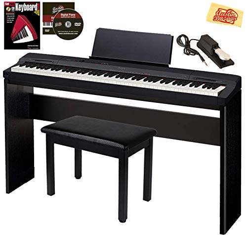 Casio Privia PX-160 Digital Piano - Black Bundle with CS-67 Stand, Deluxe Sustain Pedal, Furniture Bench, Instructional Book, Online Lessons,...