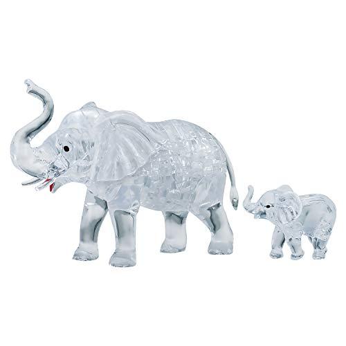 HCM Kinzel Crystal Puzzle 59176 3D Elephant Couple 46 Pieces, Grey