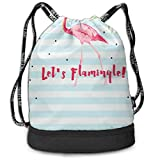 PmseK Turnbeutel Sportbeutel Kordelzug Rucksack, Pink Flamingo Sporttasches Gym Cinch Storage Bag for Traveling Hiking