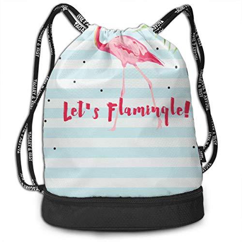 PmseK Turnbeutel Sportbeutel Kordelzug Rucksack, Pink Flamingo Sporttasches Gym Cinch Storage Bag for Traveling Hiking