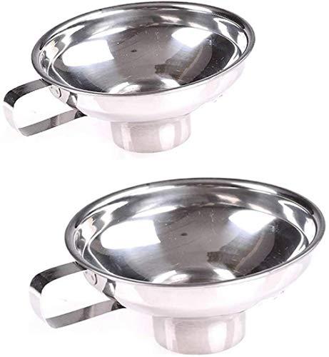 Embudo de acero inoxidable de 2 piezas, embudo de utensilios de cocina de boca ancha, con mango de mermelada, frasco común, líquido, plata