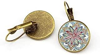 SOSUO Vintage Retro Women Glass Round Flower Ear Stud Pierced Earrings Fashion Jewelry (Antique Bronze)