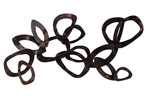 KunstLoft Extravagante Metall Wandskulptur 'Ewige Verbundenheit' 60x120x6cm | Design Wanddeko XXL handgefertigt Metallbild Wandrelief | Rost Ringe flammenbehandelt in Braun | Wandbild modern