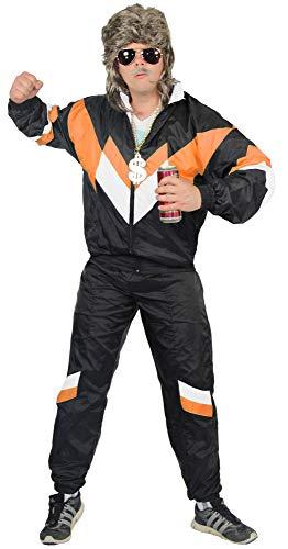 jaren '80 trainingspak kostuum voor mannen - zwart oranje wit - maat S-XXXXL - Sweatpants Assi, maat:L