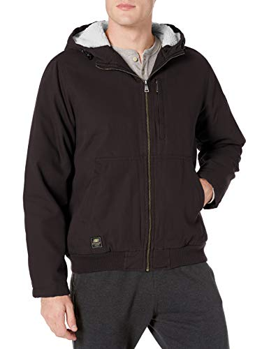 Skechers Men's Canvas Work Jacket Hood, Black, XX-Large