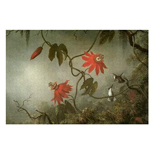 Passion Flowers and Hummingbirds by Martin J Heade Puzzles for Adults, 1000 Piece Kids Jigsaw Puzzles Game Toys Gift for Children Boys and Girls, 20