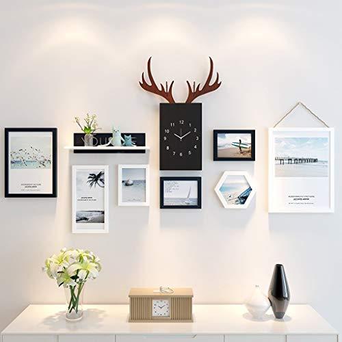 JY Holz-Bilderrahmen-Set zur Wandmontage Home Mall - Moderne Bilderrahmen-Wand mit Uhr + Kombinierte Holz-Bilderrahmen + für das Wohnzimmer im Flur + 7er-Set, Multi-Bilderrahmen-Set