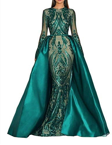 Aries Tuttle Vestido de Fiesta de Noche Corte Sirena Verde / Borgoña / Azul Marino de Satén Vestido de Fiesta con Cola Desmontable, Vestido de baile, 18 talla extra, Dos hombros (verde)