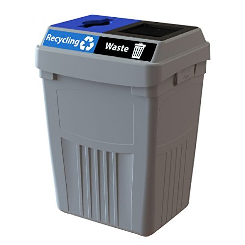 CleanRiver Flex E bin Indoor and Outdoor Sturdy 2-in-1 Waste and Recycling Bin - Commercial Waste Recycling Compost Trash - Heavy Organic Waste Collected   FX50A-GY2-R-BE-W-BK, 50 Gallons, Grey