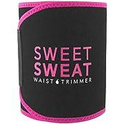 Sports Research Sweet Sweat Premium Waist Trimmer (Pink Logo) for Men & Women ~ Includes Free Sample of Sweet Sweat Gel!