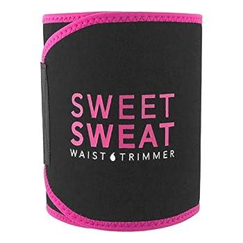 Sweet Sweat Waist Trimmer - Black/Pink  Medium  | Premium Waist Trainer Sauna Belt for Men & Women