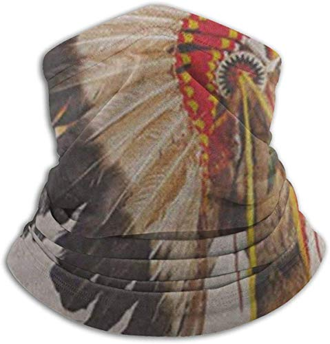 Native American Indian Chief Headdress Mascotte Kostuum Tribal Veer Nek Gaiter Warmer Winddicht Ski Masker Stof - Gratis Oorwarmers Hoofdband Fleece Nek Warmer Voor Winter Outdoor Sport