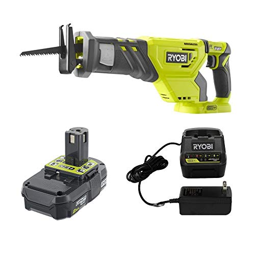 Ryobi P518 18-Volt ONE+ Brushless Reciprocating Saw with Wood Cutting Blade P190 2.0 Ah Battery and P118b Charger Kit