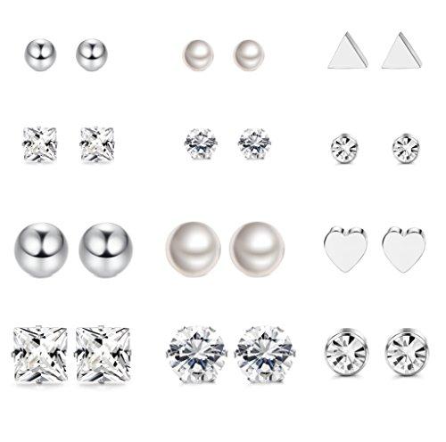 LOYALLOOK 12 Pairs Stainless Steel Earrings Stud Earrings Set for Womens Clear CZ Stud