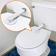 Baby Toilet Lock (2 Pack) Ideal Baby Proof Toilet Lid Lock with Arm – No Tools Needed Easy Installation with 3M Adhesive – Top Safety Toilet Seat Lock – Fits Most Toilets – White