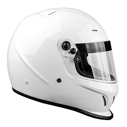 Snell SA2015 Approved Full Face Racing Helmet (White, Medium)