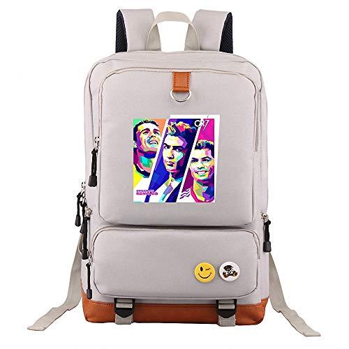 CBA BING Laptop Rucksack C Luo CR7 Fußballstar Tasche, wasserdicht College School Computer Rucksack Tasche für Männer/Frauen, für Coole Mädchen Jungen Teens Outdoor Rucksack,Grau