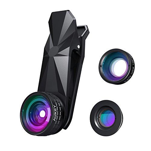 AUKEY iPhone Objektiv 3 in 1 Clip On 180 Grad Fischauge + 110 Grad Weitwinkel + 10X Makro Objektiv Handy für iPhone / Samsung / Sony / Huawei usw.
