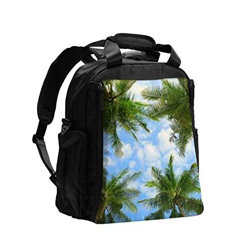 Palmeras Tropicales de Bosque Azul Cielo Grande Capacidad Multifunción Bolsa de Pañales de Mamá Papá Bolsa de Cuidado de Bebé Bolsa de Pañal Bolsa de Enfermería