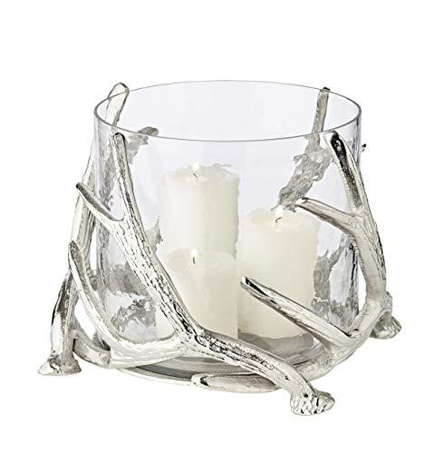 EDZARD Windlicht Kingston im Hirschgeweih Design, Aluminium vernickelt, mit Glas, Höhe 20 cm, Durchmesser 25 cm