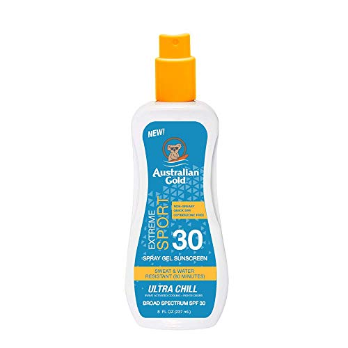 Australian Gold Extreme Sport Spray Gel Sunscreen SPF 30, 8 Ounce | Broad Spectrum | Sweat & Water Resistant | Non-Greasy | Oxybenzone Free | Cruelty Free
