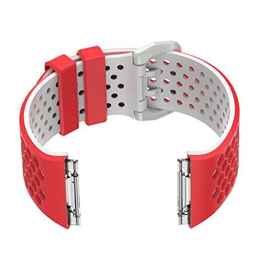 Baoblaze pour Fitbit Ionic Bandes, Bracelet en Silicone Souple Sports Watch Bracelet Bracelet Bracelet Accessoire pour Fitbit Ionic Hommes Femmes Petit - Rouge Blanc, comme décrit