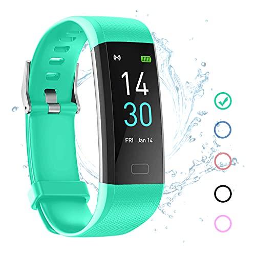joyliveCY Fitness Tracker Armband Wasserdicht IP68 Grün mit Pulsmesser Schlafmonitor Fitness Tracker Schrittzähler Aktivitätstracker Uhr für Damen Herren Kinder Smartband für IOS Android