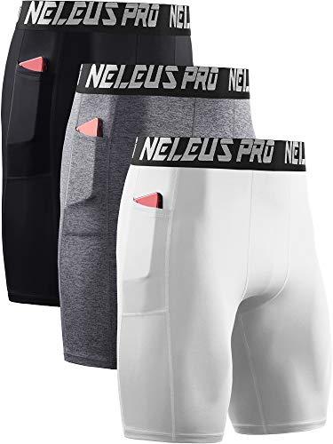 Neleus Men's 3 Pack Compression Shorts with Pockets Dry Fit Yoga Shorts,6063,Black/Grey/White,US L,EU XL