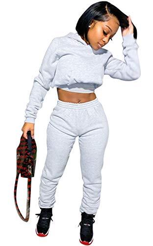 Tracksuit for Women Set 2 Piece Sweatsuit Outfits Long Sleeve Crop Hoodie Jogging Pants Set Grey S
