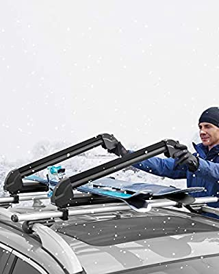 MaxKare Ski Car Rack Carrier Aluminum Universal Snowboard Car Roof Rack Fit Most Cross Bars, 34'' Long Extended 1.2'', 6 Pairs Skis/4 Snowboards, Two Levels of Loading Thicknesses Settings, Black
