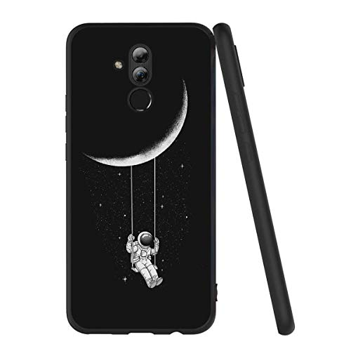 "Yoedge Huawei Mate 20 Lite Hülle, Silikon TPU Schutzhülle [Slim Stoßfest] Ultra Dünn Schwarz mit Muster Motiv Handyhülle 360 Bumper Soft Case Cover für Huawei Mate20 Lite 6,3"", Astronaut"