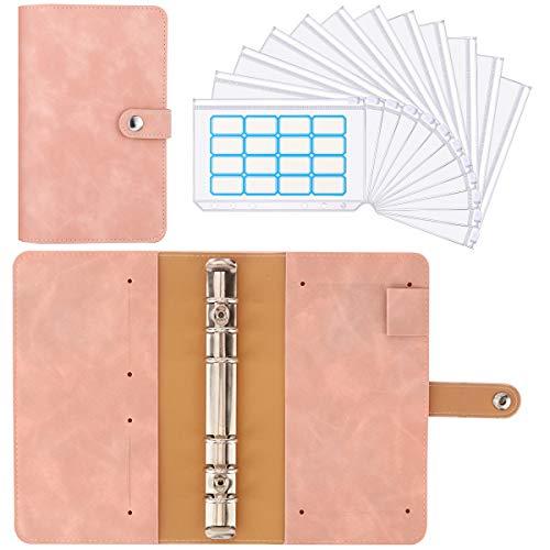 Housolution 6 Löcher Loseblatt Notizbuch, Binder Notebook aus PU Leder mit 12 Stück A6 PVC Binderumschlägen Etikettenaufklebern Binder Notizbuch Ringbuchordner - Altrosa
