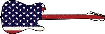 WickedGoodz Die Cut American Flag Guitar Vinyl Decal - Music Bumper Sticker - Perfect Musician Gift