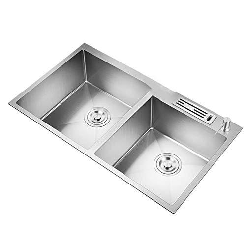 Fregadero cocina organizador Fregadero Fregadero de acero inoxidable, fregadero de cocina de 72 * 40 cm de acero inoxidable Doble fregadero con el kit de tapas de caíble instalación de subsidios de ar
