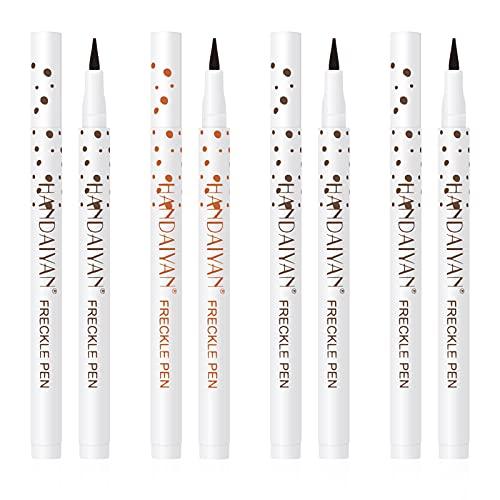 Smilcloud 4 Farbe Sommersprossen Stift Freckle Pen Sommersprossen Make Up Stift Natural Naturgetreuer Sommersprossen Make-up Stift Wasserdicht Langlebig für Damen Frauen