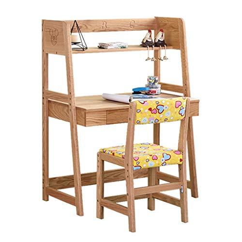 Ensembles de tables et chaises Bureau d'enfant en Bois Massif Table D'étude en Chêne Une Combinaison Amovible Bureau Et Chaise pour Étudiant Bureau Et Chaise