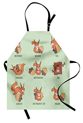 Ambesonne Squirrel Apron, Grammar Prepositions Nut and Fluffy Animal Cartoon Nutcracker Pattern, Unisex Kitchen Bib with Adjustable Neck for Cooking Gardening, Adult Size, Green Peach