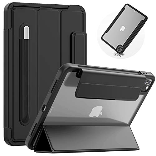 SEYMAC iPad Pro 11 Case Slim Shockproof with Tri-fold Front Cover and Clear Back,Auto Wake/Sleep Smart Cover with Pencil Holder,Support Apple Pen Wireless Charging for iPad Pro 11 Inch 2020/2018,Black