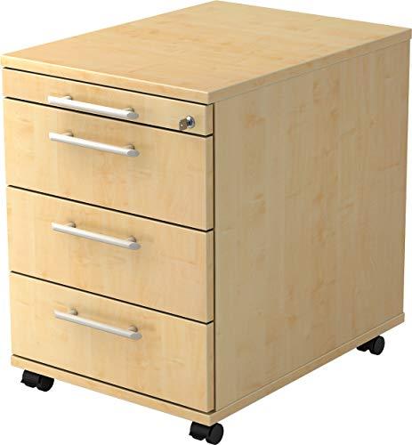bümö® Rollcontainer mit 3 Schüben & Schloss | Bürocontainer aus Holz | Tischcontainer mit Rollen | in 6 Dekoren (Ahorn)